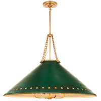 Visual Comfort CS5302NB-DGT Christopher Spitzmiller Hadley 4 Light 38 inch Natural Brass Pendant Ceiling Light in Dark Green Tole