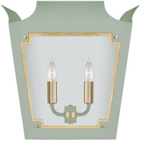 Visual Comfort JN2020CEL/G-CG Julie Neill Caddo 2 Light 16 inch Celadon and Gild Lantern Wall Sconce Wall Light