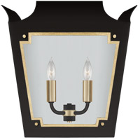 Visual Comfort JN2020MBK/G-CG Julie Neill Caddo 2 Light 16 inch Matte Black and Gild Lantern Wall Sconce Wall Light