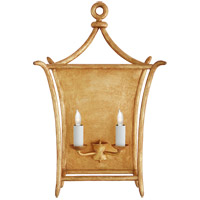 Visual Comfort JN2612AGL Julie Neill Aria 2 Light 14 inch Antique Gold Leaf Wall Sconce Wall Light, Large