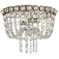 Visual Comfort JN4120BSL/CG Julie Neill Navona 2 Light 13 inch Burnished Silver Leaf and Crystal Flush Mount Ceiling Light Small Basket