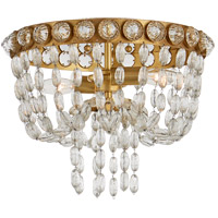 Visual Comfort JN4120G/CG Julie Neill Navona 2 Light 13 inch Gild and Crystal Flush Mount Ceiling Light, Small Basket