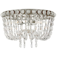 Visual Comfort JN4121BSL/CG Julie Neill Navona 3 Light 18 inch Burnished Silver Leaf and Crystal Flush Mount Ceiling Light, Medium Basket