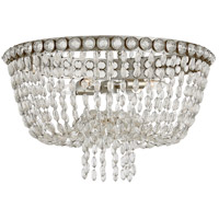 Visual Comfort JN4122BSL/CG Julie Neill Navona 4 Light 24 inch Burnished Silver Leaf and Crystal Flush Mount Ceiling Light Large Basket
