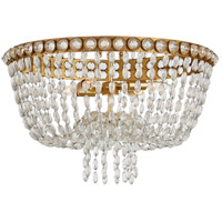 Visual Comfort JN4122G/CG Julie Neill Navona 4 Light 24 inch Gild and Crystal Flush Mount Ceiling Light, Large Basket