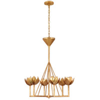 Visual Comfort JN5003AGL Julie Neill Alberto 6 Light 30 inch Antique Gold Leaf Chandelier Ceiling Light, Small Single Tier