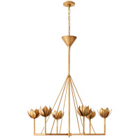 Visual Comfort JN5004AGL Julie Neill Alberto 6 Light 40 inch Antique Gold Leaf Chandelier Ceiling Light, Large Single Tier