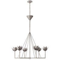 Julie Neill Alberto 6 Light 40 inch Burnished Silver Leaf Chandelier Ceiling Light, Large Single Tier