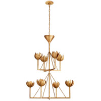 Visual Comfort JN5005AGL Julie Neill Alberto 8 Light 34 inch Antique Gold Leaf Chandelier Ceiling Light, Medium