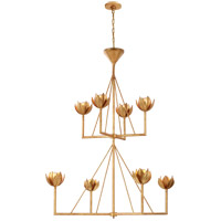 Visual Comfort JN5006AGL Julie Neill Alberto 8 Light 49 inch Antique Gold Leaf Chandelier Ceiling Light, Large Two Tier