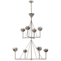 Visual Comfort JN5006BSL Julie Neill Alberto 8 Light 49 inch Burnished Silver Leaf Chandelier Ceiling Light, Large Two Tier