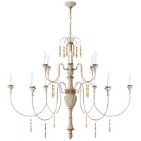 Visual Comfort JN5014VW Julie Neill Fortuna 12 Light 59 inch Vintage White and Gild Chandelier Ceiling Light, Large