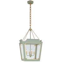 Visual Comfort JN5020CEL/G-CG Julie Neill Caddo 4 Light 19 inch Celadon and Gild Lantern Pendant Ceiling Light, Medium