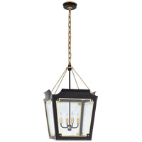Visual Comfort JN5020MBK/G-CG Julie Neill Caddo 4 Light 17 inch Matte Black and Gild Lantern Pendant Ceiling Light, Medium
