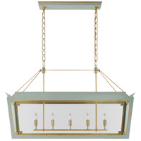 Visual Comfort JN5023CEL/G-CG Julie Neill Caddo 5 Light 45 inch Celadon and Gild Linear Lantern Pendant Ceiling Light, Medium
