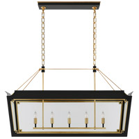 Visual Comfort JN5023MBK/G-CG Julie Neill Caddo 5 Light 45 inch Matte Black and Gild Linear Lantern Pendant Ceiling Light, Medium