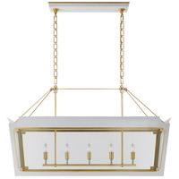 Visual Comfort JN5023SW/G-CG Julie Neill Caddo 5 Light 45 inch Soft White and Gild Linear Lantern Pendant Ceiling Light Medium