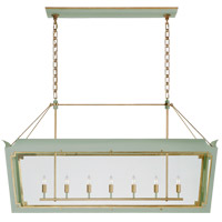 Visual Comfort JN5025CEL/G-CG Julie Neill Caddo 7 Light 56 inch Celadon and Gild Linear Lantern Pendant Ceiling Light, Large