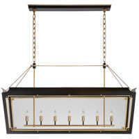 Visual Comfort JN5025MBK/G-CG Julie Neill Caddo 7 Light 56 inch Matte Black and Gild Linear Lantern Pendant Ceiling Light Large