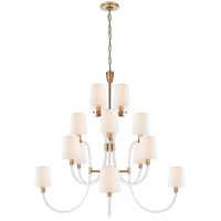 Visual Comfort JN5030CG/AB-L Julie Neill Clarice 16 Light 43 inch Crystal and Antique-Burnished Brass Chandelier Ceiling Light, Large