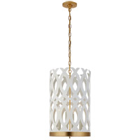 Visual Comfort JN5045WHT/G Julie Neill Ingrid 4 Light 15 inch Matte White and Gild Chandelier Ceiling Light, Tall