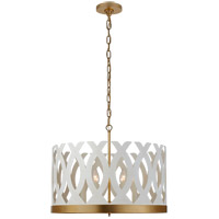 Visual Comfort JN5046WHT/G Julie Neill Ingrid 6 Light 24 inch Matte White and Gild Chandelier Ceiling Light