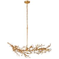 Visual Comfort JN5070AGL Julie Neill Mandeville 6 Light 42 inch Antique Gold Leaf Linear Chandelier Ceiling Light