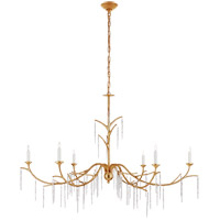Visual Comfort JN5075AGL Julie Neill Iberia 6 Light 57 inch Antique Gold Leaf and Crystal Chandelier Ceiling Light, Large
