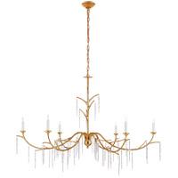 Visual Comfort JN5075AGL Julie Neill Iberia 6 Light 57 inch Antique Gold Leaf and Crystal Chandelier Ceiling Light Large