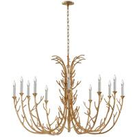 Visual Comfort JN5080AGL Julie Neill Silva 12 Light 48 inch Antique Gold Leaf Chandelier Ceiling Light