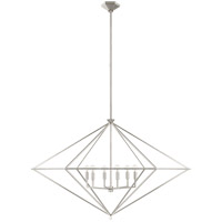 Visual Comfort JN5091BSL Julie Neill Afton 6 Light 49 inch Burnished Silver Leaf Lantern Pendant Ceiling Light Grande