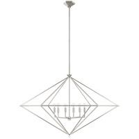 Visual Comfort JN5091BSL Julie Neill Afton 6 Light 49 inch Burnished Silver Leaf Lantern Pendant Ceiling Light Grande