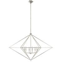 Visual Comfort JN5093BSL Julie Neill Afton 6 Light 49 inch Burnished Silver Leaf Linear Lantern Pendant Ceiling Light Grande