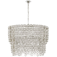 Visual Comfort JN5232BSL/CG Julie Neill Milazzo 12 Light 37 inch Burnished Silver Leaf and Crystal Chandelier Ceiling Light, Large Waterfall