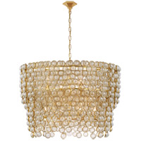 Visual Comfort JN5232G/CG Julie Neill Milazzo 12 Light 36 inch Gild and Crystal Chandelier Ceiling Light, Large Waterfall