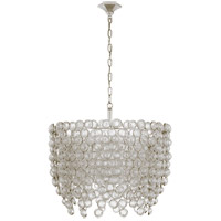 Visual Comfort JN5234BSL/CG Julie Neill Milazzo 8 Light 29 inch Burnished Silver Leaf and Crystal Chandelier Ceiling Light, Medium Waterfall
