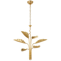 Visual Comfort JN5517AB Julie Neill Dumaine 6 Light 42 inch Antique-Burnished Brass Chandelier Ceiling Light, Medium Pierced Leaf