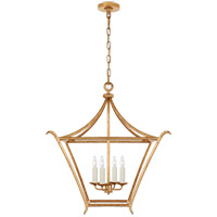Visual Comfort JN5613AGL Julie Neill Aria 4 Light 24 inch Antique Gold Leaf Lantern Pendant Ceiling Light, Medium Square