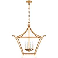 Visual Comfort JN5613AGL Julie Neill Aria 4 Light 24 inch Antique Gold Leaf Lantern Pendant Ceiling Light Medium Square