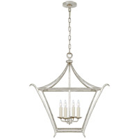 Visual Comfort JN5613BSL Julie Neill Aria 4 Light 24 inch Burnished Silver Leaf Lantern Pendant Ceiling Light, Medium Square