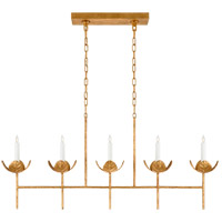 Visual Comfort JN5630AGL Julie Neill Illana 5 Light 51 inch Antique Gold Leaf Linear Chandelier Ceiling Light Large