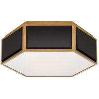 Visual Comfort KS4120BLK/SB-FG Kate Spade New York Bradford 2 Light 13 inch Black and Soft Brass Hexagonal Flush Mount Ceiling Light Small
