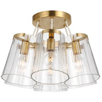 Visual Comfort KS4128SB/CRE-CG Kate Spade New York Thoreau 7 Light 21 inch Soft Brass and Cream Flush Mount Ceiling Light