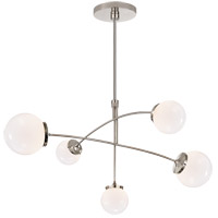 Visual Comfort KS5403PN-WG Kate Spade New York Prescott 5 Light 40 inch Polished Nickel Mobile Chandelier Ceiling Light in White Glass Medium