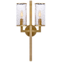 Visual Comfort KW2201AB-CRG Kelly Wearstler Liaison 2 Light 10 inch Antique-Burnished Brass Sconce Wall Light, Kelly Wearstler, Crackle Glass