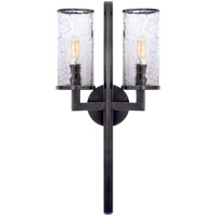Visual Comfort KW2201BZ-CRG Kelly Wearstler Liaison 2 Light 10 inch Bronze Sconce Wall Light, Kelly Wearstler, Crackle Glass