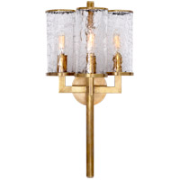 Kelly Wearstler Liaison 3 Light 10 inch Antique-Burnished Brass Sconce Wall Light in Antique Burnished Brass, Kelly Wearstler, Crackle Glass