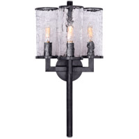 Visual Comfort KW2202BZ-CRG Kelly Wearstler Liaison 3 Light 10 inch Bronze Sconce Wall Light, Kelly Wearstler, Crackle Glass