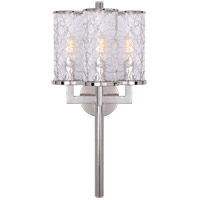 Visual Comfort KW2202PN-CRG Kelly Wearstler Liaison 3 Light 10 inch Polished Nickel Sconce Wall Light, Kelly Wearstler, Crackle Glass