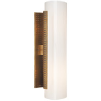 Visual Comfort KW2220AB-WG Kelly Wearstler Precision 2 Light 4 inch Antique Burnished Brass Bath Sconce Wall Light, Kelly Wearstler, Medium, Cylinder, White Glass